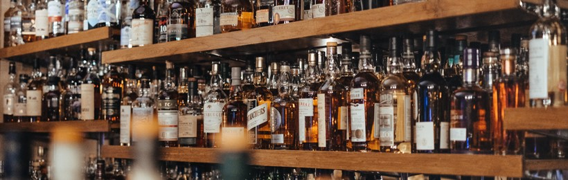 rack with Whisky bottles