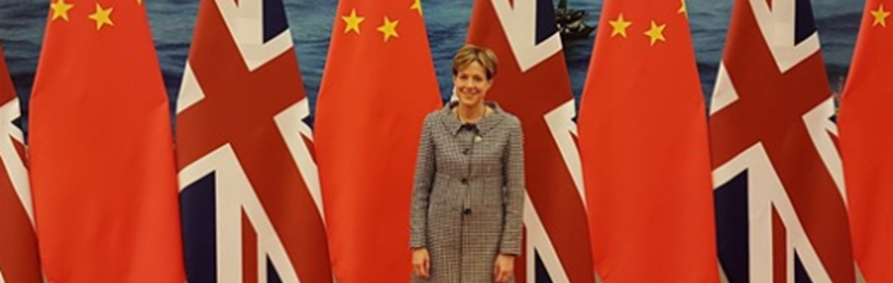 SWA Chief Executive, Karen Betts, China and British Flags