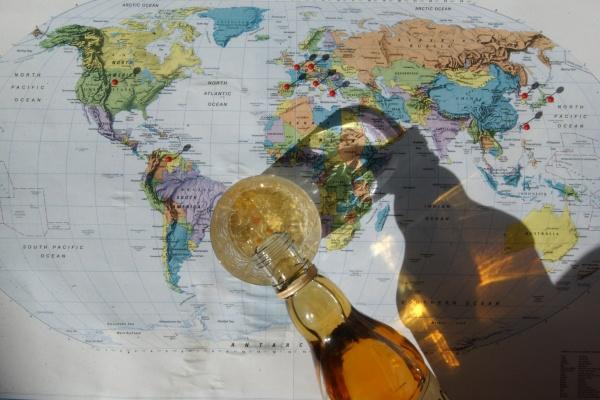 world map with whisky
